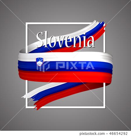 Slovenia flag.Official national Slovenian 3d   46654292