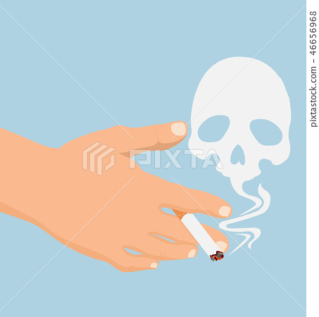 hand with cigarette  smoke skull vector 46656968