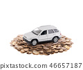 Small silver car on a pile of coins on white 46657187