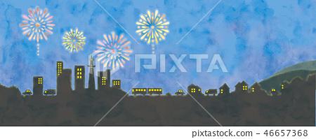 煙花和都市風景的例證 46657368