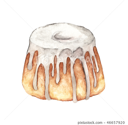 White cake with glaze. Watercolor illustration. 46657920