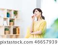 ผู้หญิงวิตกกังวลแม่วิตกกังวลแม่บ้านเต็มเวลาหญิงกลาง 46657939