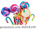 sweets are different on black background, lollipops and candies  46658149