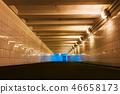 underground pedestrian crossing in the city illuminated   46658173