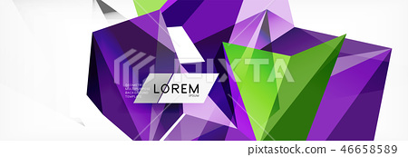 Mosaic triangular low poly style abstract geometric background. Polygonal vector. Abstract white 46658589