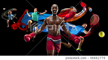 Attack. Sport collage about badminton, tennis, boxing and handball players 46662778