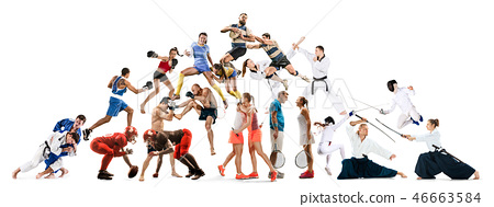 Sport collage about kickboxing, soccer, american football, aikido, rugby, judo, fencing, badminton 46663584