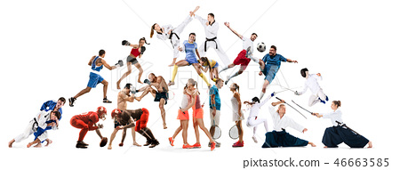 Sport collage about kickboxing, soccer, american football, aikido, rugby, judo, fencing, badminton 46663585