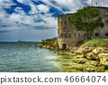 Old damaged by war fort in the Black Sea coast. Coastal Michael's fortress in Sevastopol, Crimea 46664074