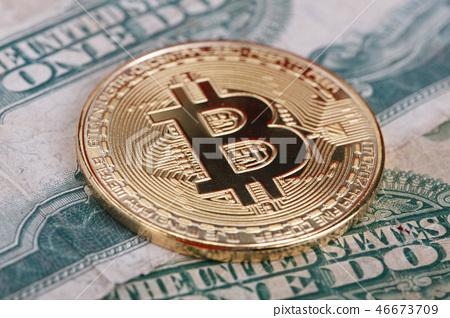 bitcoin on us dollar banknotes 46673709