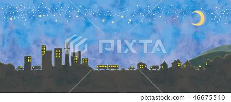都市风景和满天星斗的天空例证 46675540