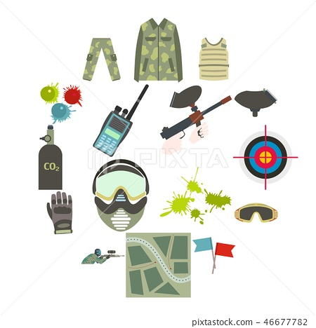Paintball game flat icons set 46677782