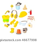 Safety icons set, cartoon style  46677998