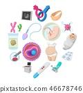 pregnancy, icon, set 46678746