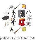 Ninja cartoon icons set 46678750