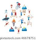 Summer sport cartoon icons set 46678751
