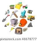 Mining icons cartoon set  46678777
