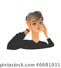 Unhappy woman squeezing head with hands in flat cartoon style. 46681931