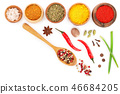 mix of spices in wooden spoon isolated on a white background with copy space for your text. Top view 46684205