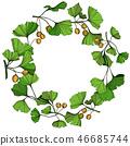Vector Ginkgo green leaf. Engraved ink art. Frame border ornament square on white background. 46685744