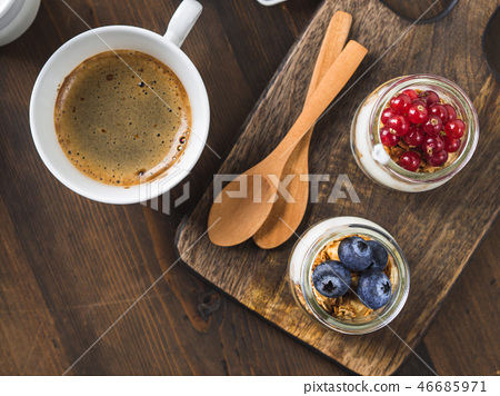 Cozy Breakfast food concept dark wooden background 46685971