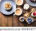 Cozy Breakfast food concept dark wooden background 46685977