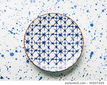 Empty porcelain china dish on white background 46685994