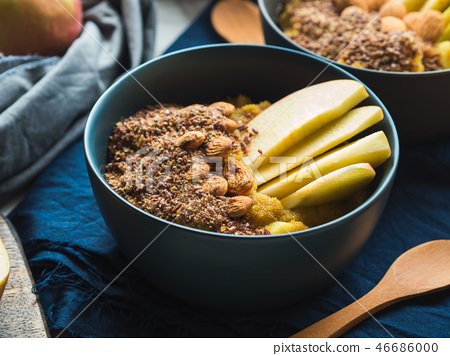 Cozy Breakfast food concept with turmeric amaranth 46686000
