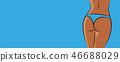 female butt body in blue underwear on blue background 46688029