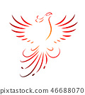 red phoenix rising wings line drawing isolated on a white background 46688070