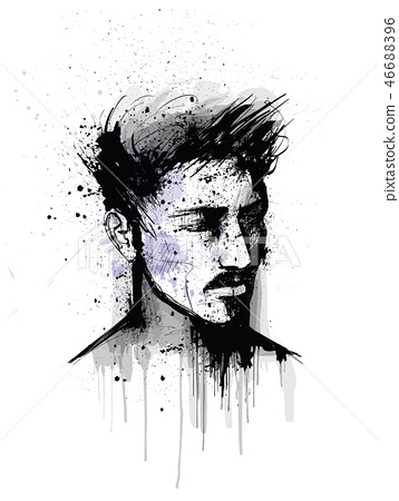 original portrait of a man face 46688396
