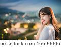 여성, 여자, 여대생, 노을, 석양 , 햇살, 해질녘, 나들이,  46690006