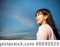 여성, 여자, 여대생, 노을, 석양 , 햇살, 해질녘, 나들이,  46690020
