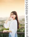 여성, 여자, 여대생, 노을, 석양 , 햇살, 해질녘, 나들이,  46690543