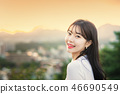 여성, 여자, 여대생, 노을, 석양 , 햇살, 해질녘, 나들이,  46690549
