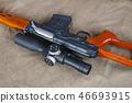 SVD sniper rifle on khaki canvas 46693915