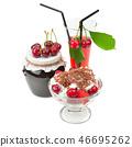 Ripe cherries, jam and juice isolated on white 46695262
