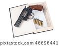 revolver gun with cartridges hidden in a book 46696441