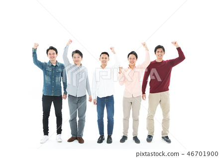 Casual Male Multiple 20s to 40s Guts Pose - Stock Photo