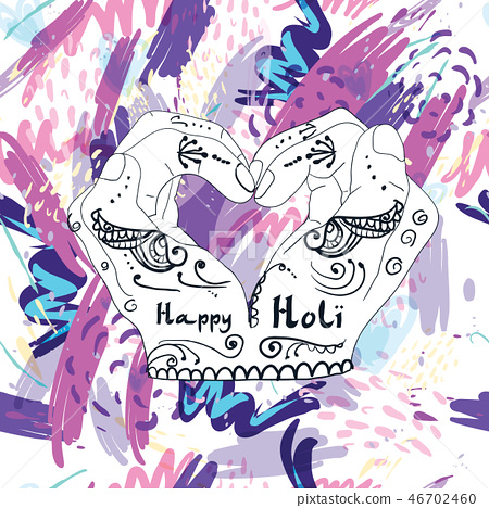 Abstract holiday background Happy Holi colors India 46702460