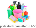 Household chemicals, sponges, napkins and bucket  46708327