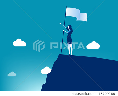 Businesswoman holding flat and standing on top  46709180