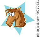Brown Horse face  cartoon .  46710621
