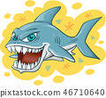 shark cartoon on yellow background 46710640