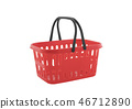 Red shopping basket isolated on white background  46712890