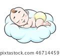 Sleeping baby on cloud 46714459