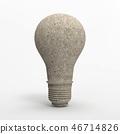 Stone light bulb illustration isolated on white BG 46714826