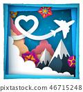 Love paper cloud. Airplane illustration. 46715248