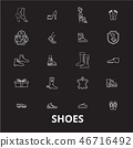 Shoes editable line icons vector set on black background. Shoes white outline illustrations, signs 46716492