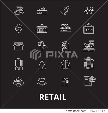 Retail editable line icons vector set on black background. Retail white outline illustrations, signs 46716513